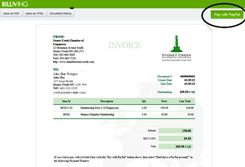 Chamber To Introduce New Paperless Billing Stoney Creek Chamber - Invoice template with credit card payment option